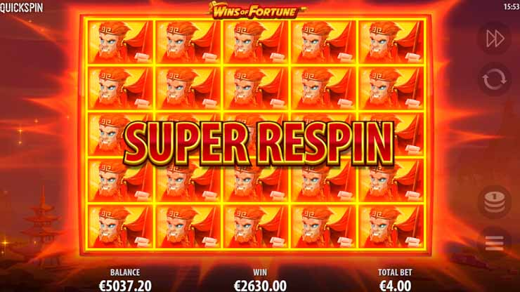 Wins of Fortune Super Re-spins bonus.