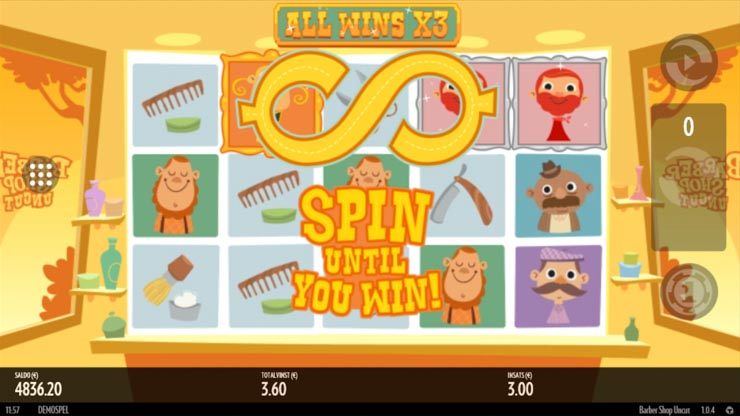 Inwinity Spin Feature in Thunderkick's Barber Shop Uncut mobile slot.