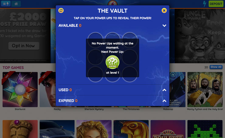 Power Spins Casino Vault rewards and Power Ups.