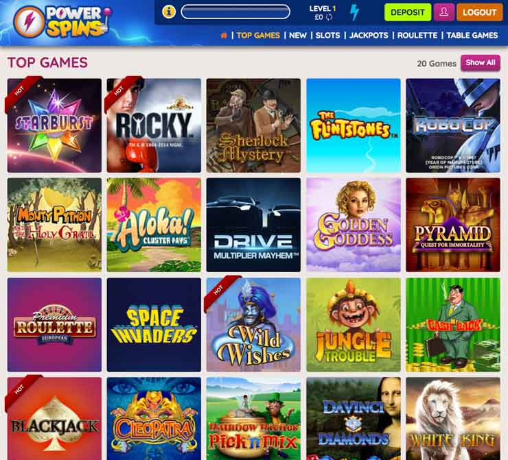 Power Spins Casino games lobby from on desktop.