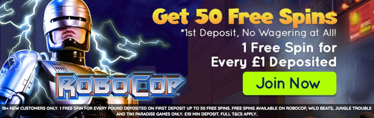 Power Spins Casino welcome bonus with up to 50 wager free free spins.
