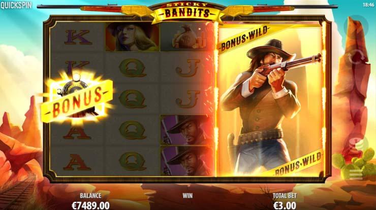 Sticky Bandits Free Spins bonus with sticky Massive Wilds.