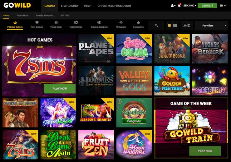 GoWild Casino lobby and game filters.