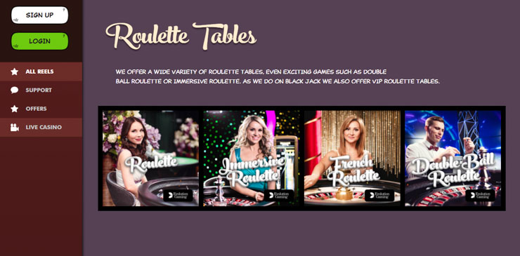 Joreels Live Casino games (Evolution and NetEnt).