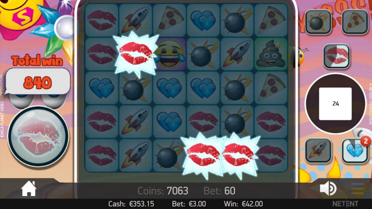 Emojiplanet slot Kiss Mark Feature.