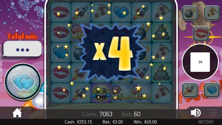 Emojiplanet video slot Two Hearts Feature.