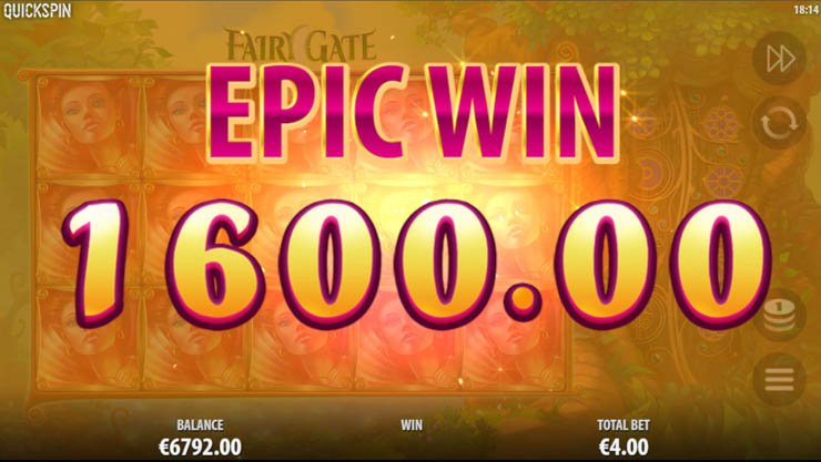 Fairy Gate mobile slot by Quickspin: Epic Win celebration.