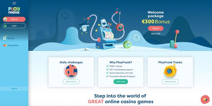 PlayFrank Casino welcome bonus.