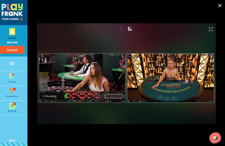 PlayFrank live casino from Evolution Gaming.