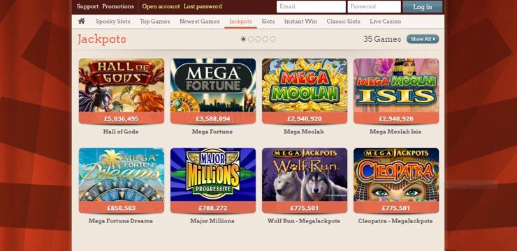 LeoVegas progressive jackpot slots.