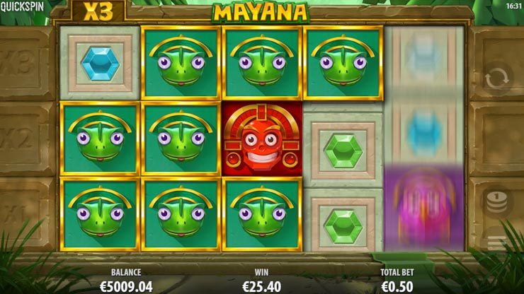 Mayana mobile slot re-spins and win multipliers.