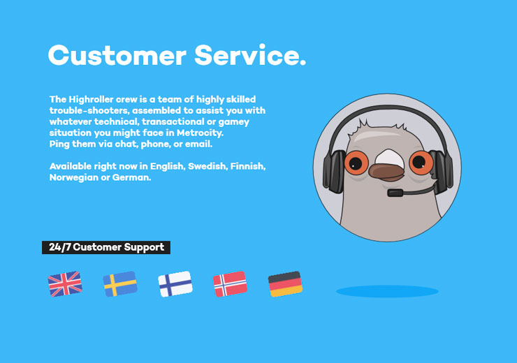 Highroller Casino customer support in English, Swedish, Norwegian, Finnish and German.