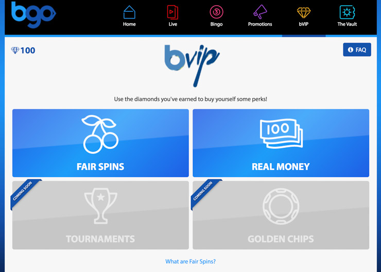 Bgo bVIP program with real-money rewards.