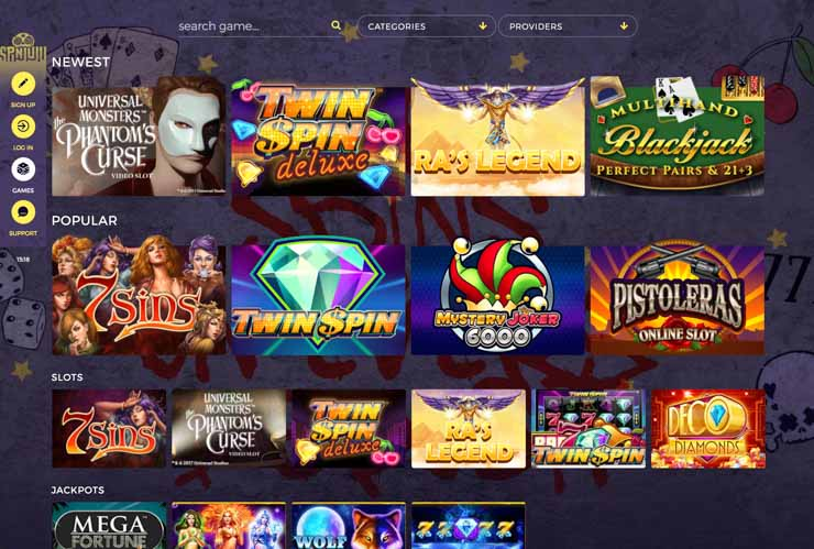 SpinJuju casino games overview.