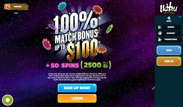 Ikibu Casino exclusive welcome bonus.