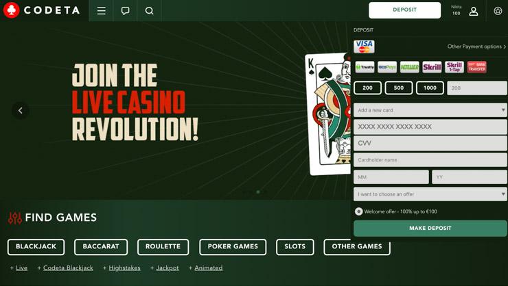 Codeta Casino deposit methods and cashier.