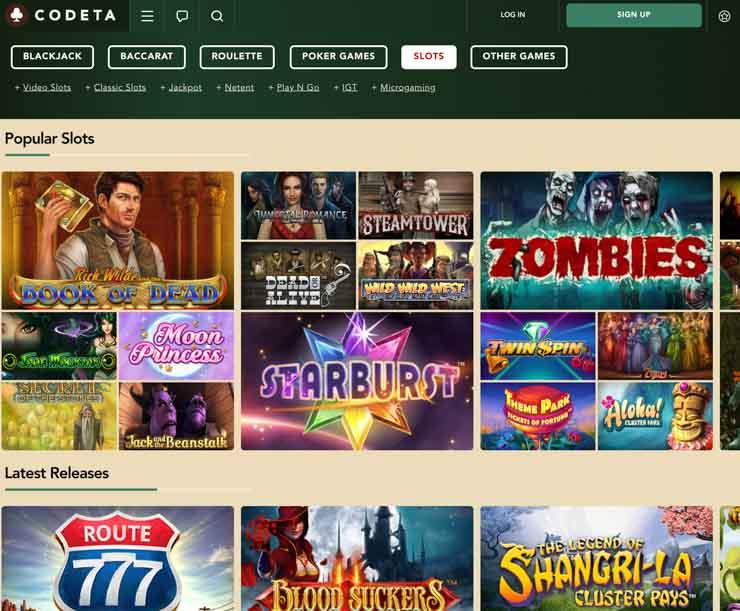 Codeta Casino games lobby.