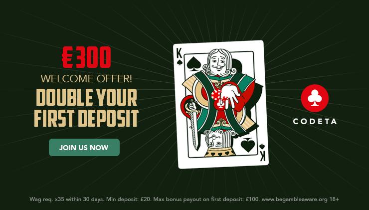 Codeta Casino welcome bonus 2018.