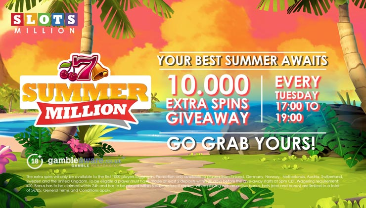 Win with the SlotsMillion Casino Summer Million Giveaway