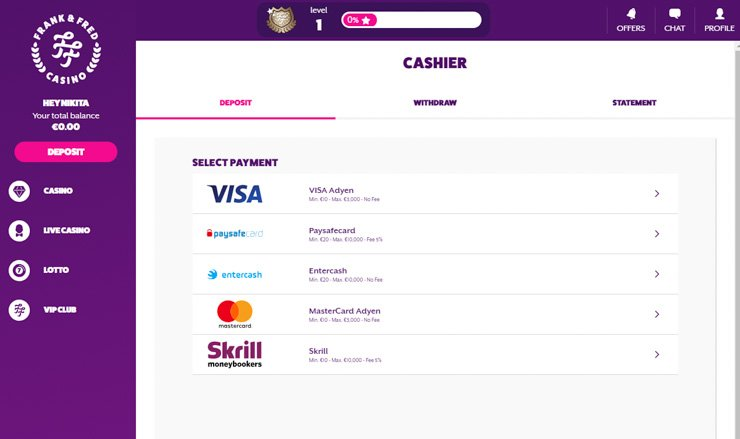 Frank Fred Casino cashier and payment methods.