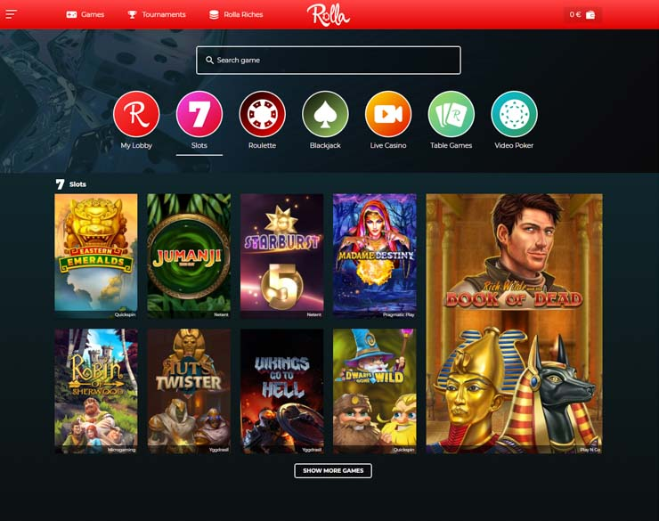Rolla Casino games lobby on desktop.