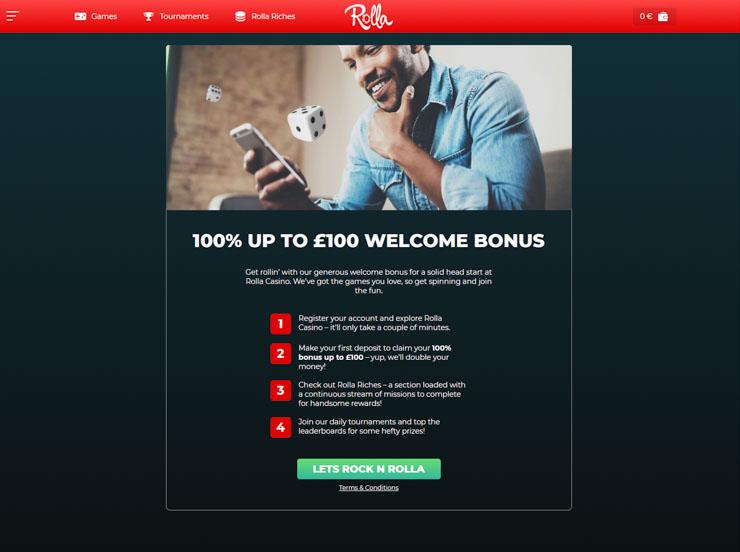 Rolla Casino welcome match bonus.