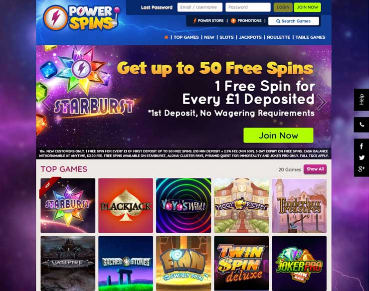 Power Spins casino.
