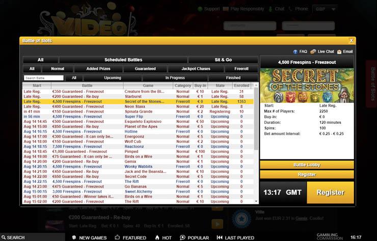 Videoslots casino Battle of Slots.