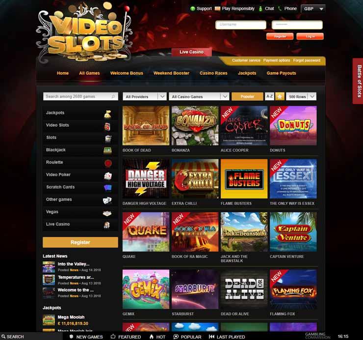 Videoslots casino desktop games.