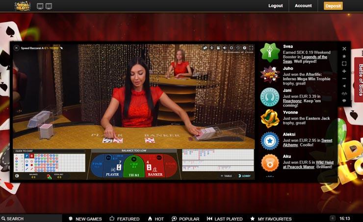 Videoslots.com Live Casino by Evolution.