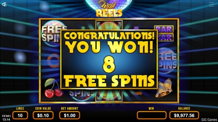 Wild Reels slot Free Spins trigger.