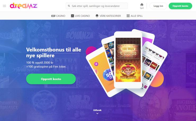 Dreamz Casino welcome bonus for Norway.