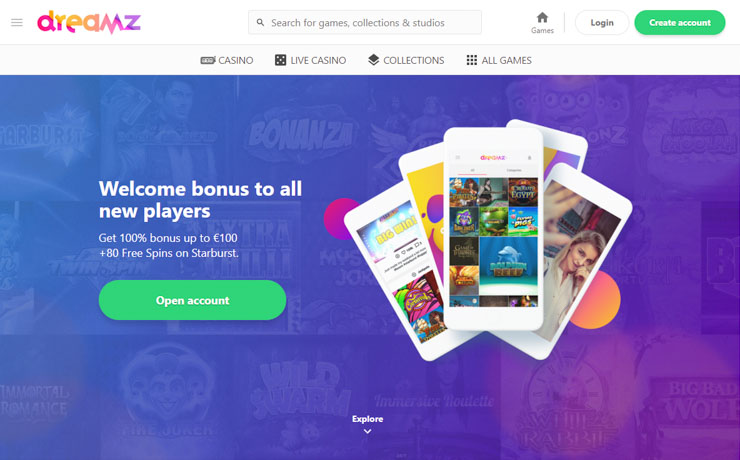 Dreamz Casino welcome bonus.