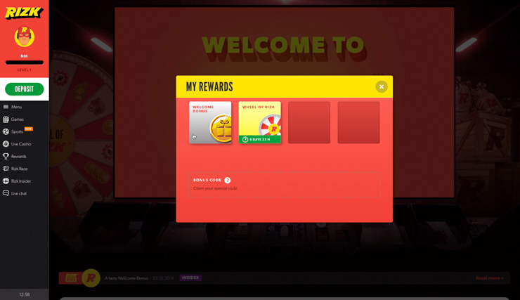 Choose Welcome Bonus in Rewards.