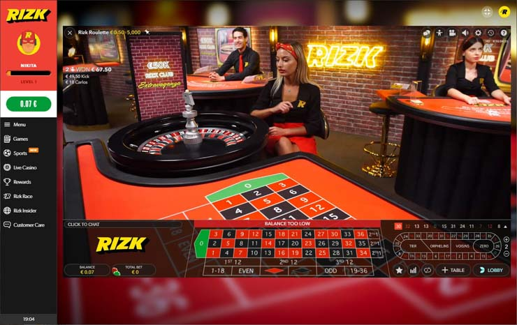 Rizk Club by Evolution Gaming.