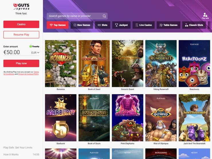 GutsXpress top games.