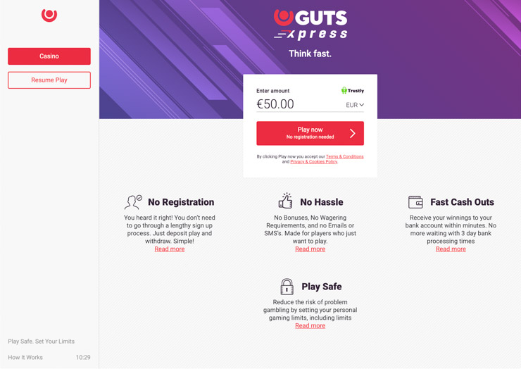 Guts Casino - play without registration.