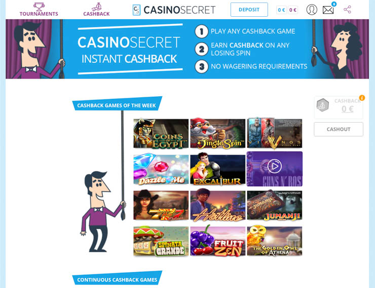 Casino Secret cashback games.