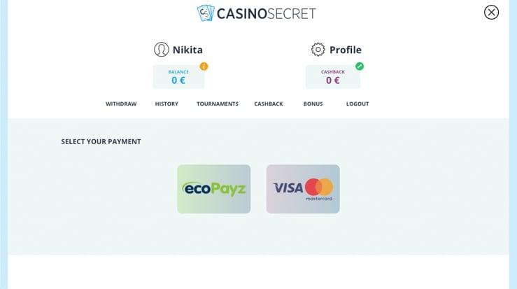 Casino Secret payment methods.