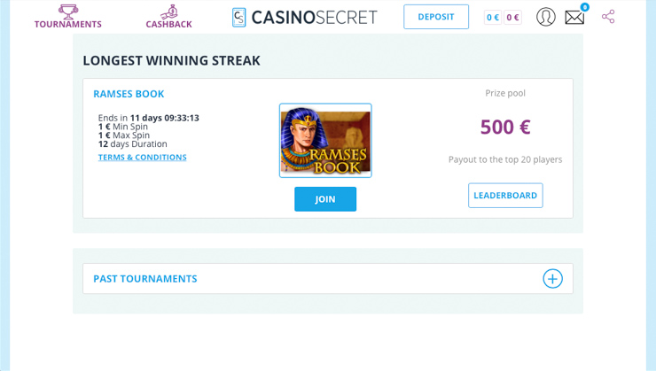Casino Secret free tournaments.