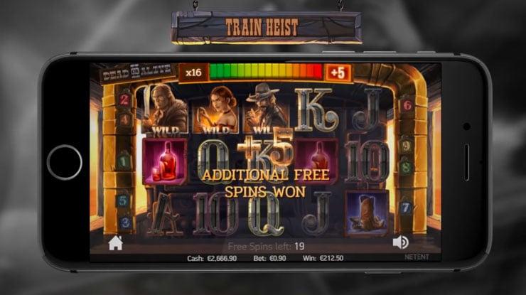 Dead or Alive 2 Train Heist Free Spins bonus.