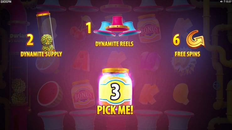 Durian Dynamite Free Spins Bonus Picker feature.