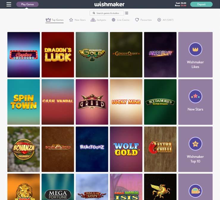 Wishmaker Casino top games.