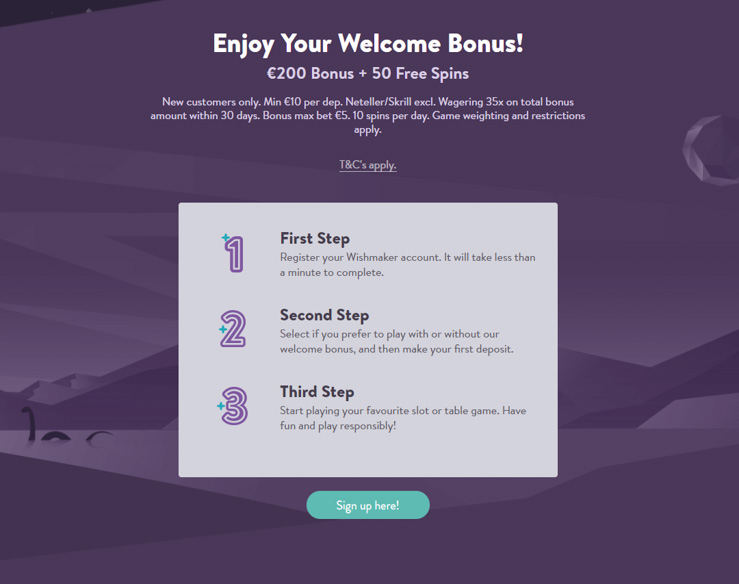 Wishmaker Casino welcome bonus.