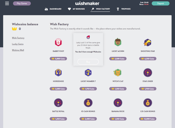 Wishmaker Wish Factory dashboard.