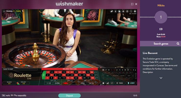 Wishmaker Live Casino Roulette.