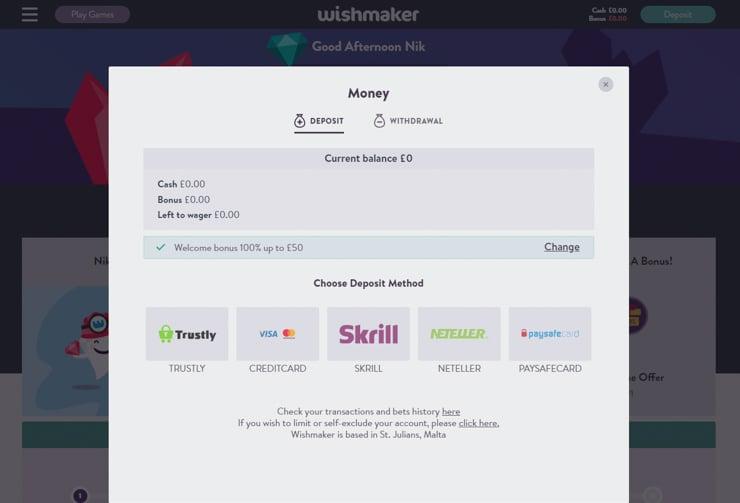 Wishmaker Casino deposit methods.