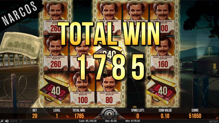 Narcos Video Slot Locked Up feature win.