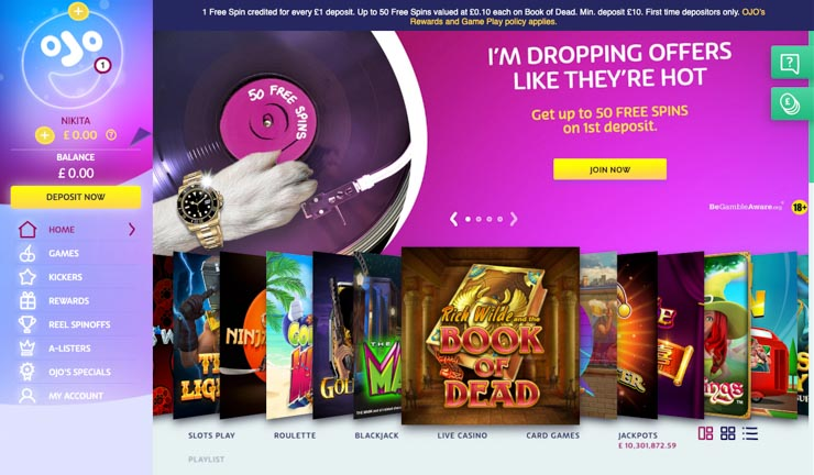 PlayOJO Casino home page.
