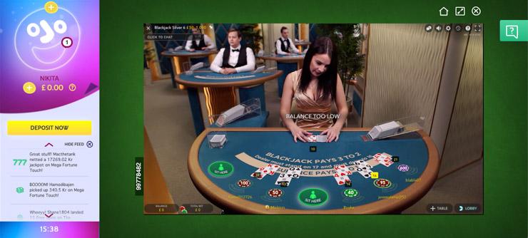 PlayOJO Live Casino.
